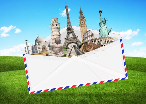 Сток-фото: иллюстрация · конверт · полный · известный · памятники · Мир