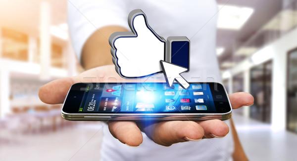 Businessman using modern social network Stock photo © sdecoret