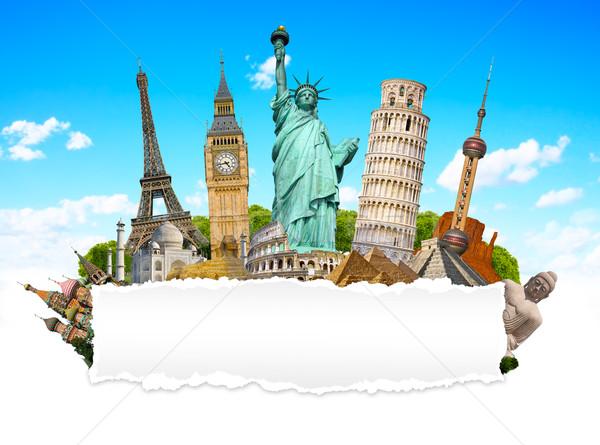 известный памятники Мир рваной бумаги вместе бумаги Сток-фото © sdecoret