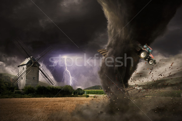 Stock photo: Large Tornado disaster on a barn