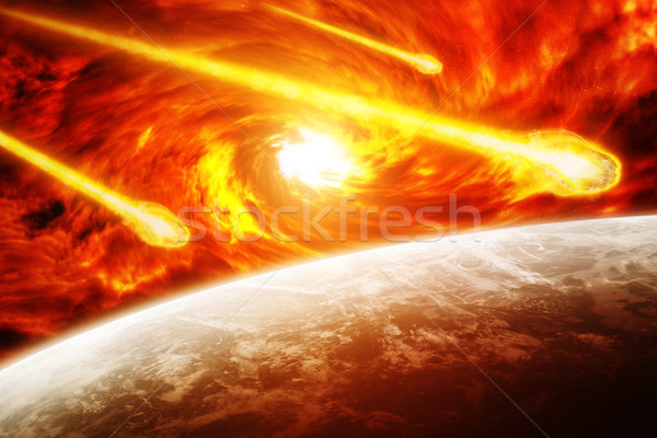 Rood nevelvlek ruimte aarde zwart gat omhoog stockfoto sebastien decoret - Kleur rood ruimte ...