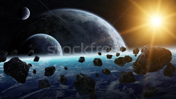 Meteorite pianeti spazio view mondo luce Foto d'archivio © sdecoret