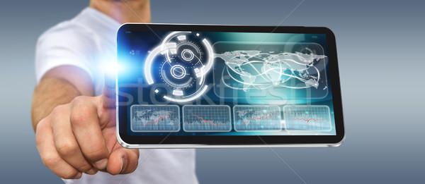 Moço moderno telefone móvel empresário mão aplicação Foto stock © sdecoret