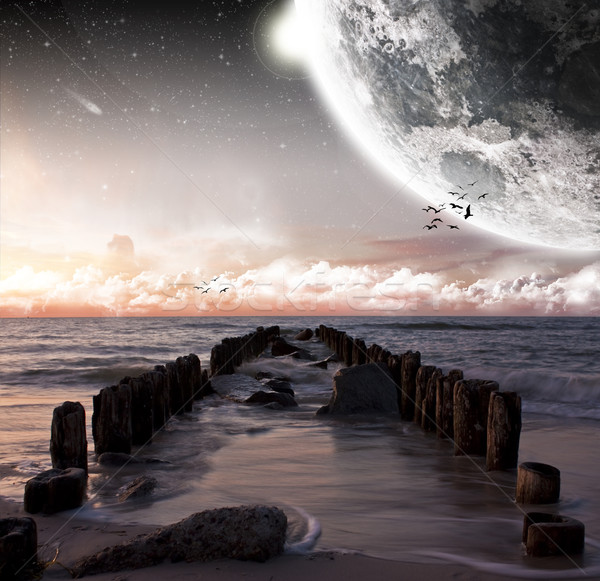 пляж планеты пейзаж красивой другой Мир Сток-фото © sdecoret