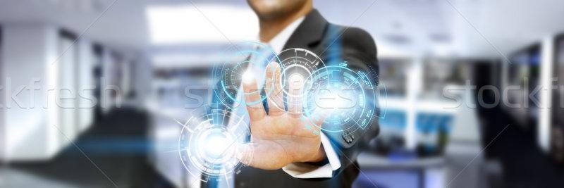 üzletember iroda interfész digitális ujjak üzlet Stock fotó © sdecoret
