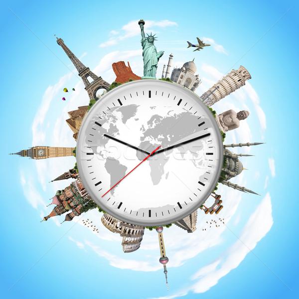 Illustrazione clock noto monumenti mondo mondo Foto d'archivio © sdecoret