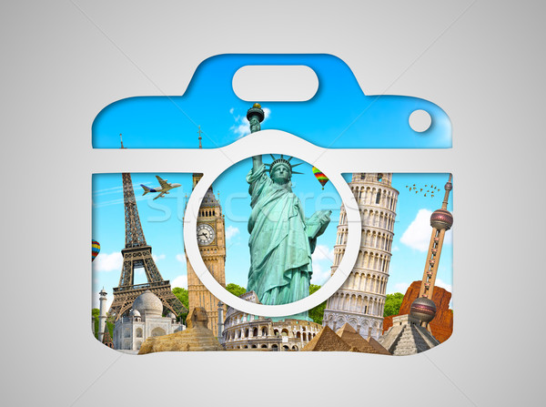 Famous monuments of the world in a camera icon Stock photo © sdecoret