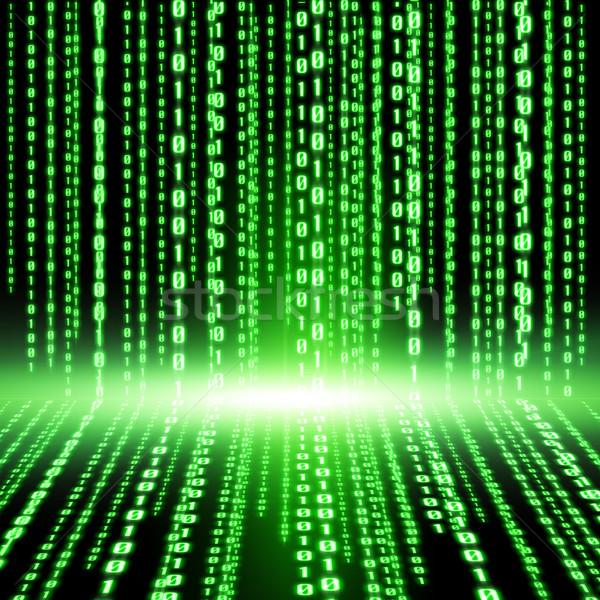 Verde código binario líneas digital ordenador Internet Foto stock © sdecoret