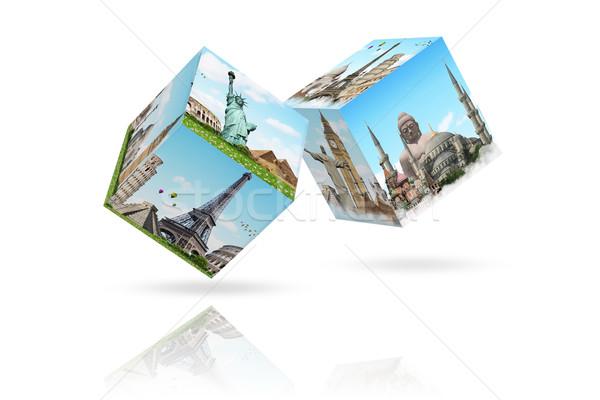 Ilustración famoso monumentos mundo tierra verano Foto stock © sdecoret