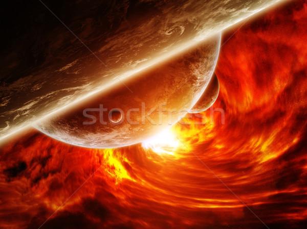 Vermelho nebulosa espaço planeta terra buraco negro para cima Foto stock © sdecoret