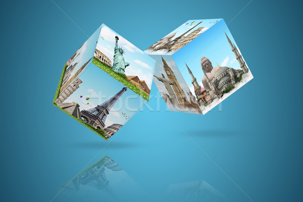 illustration of dices with famous monument Stock photo © sdecoret