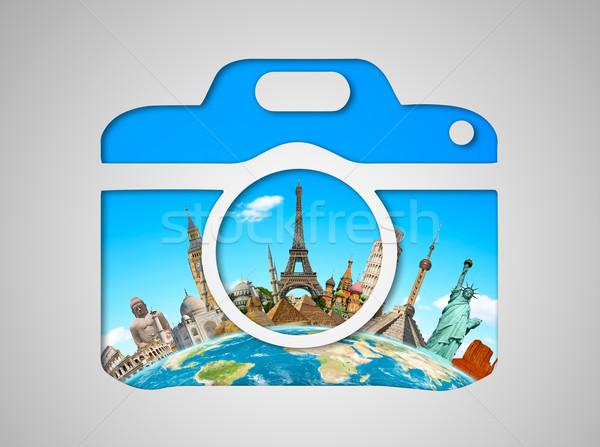 ünlü anıtlar dünya kamera ikon birlikte Stok fotoğraf © sdecoret