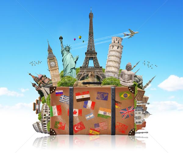 Ilustracja walizkę pełny słynny zabytki świat Zdjęcia stock © sdecoret