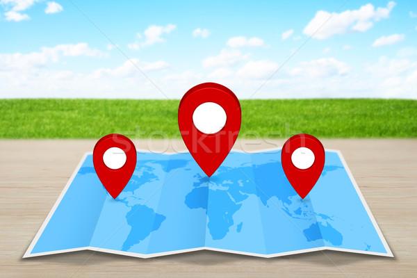 Pin mappa blu marcatore icona mappa del mondo Foto d'archivio © sdecoret
