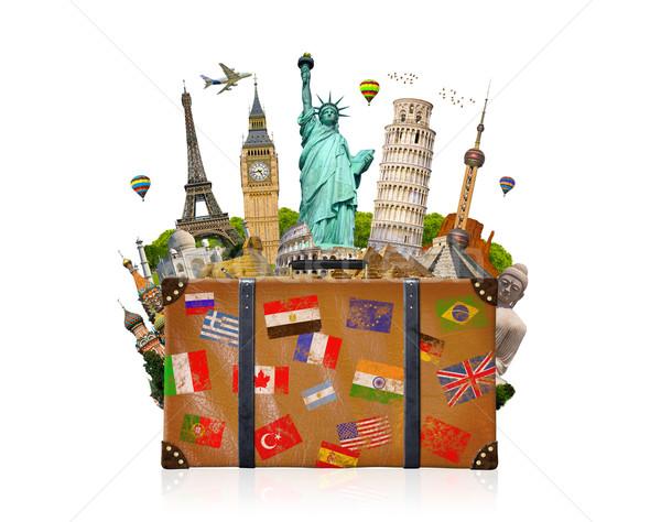 Utazás táska tele híres világ fehér Stock fotó © sdecoret