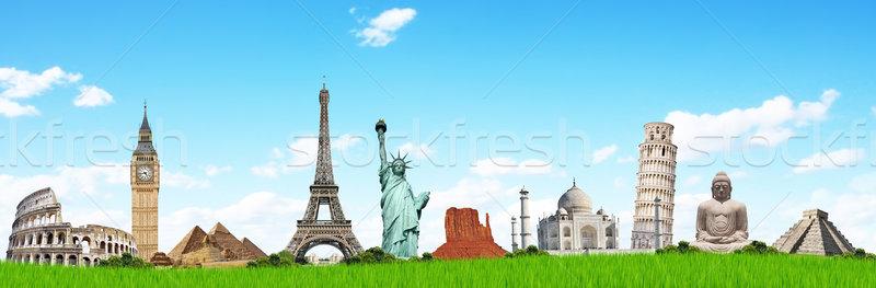 Illustration of famous monument on green grass Stock photo © sdecoret