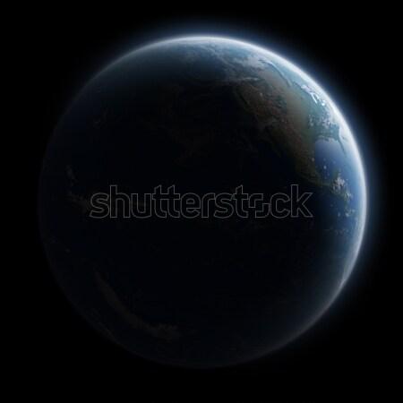 Świt planety Ziemi przestrzeni widoku wygaśnięcia morza Zdjęcia stock © sdecoret