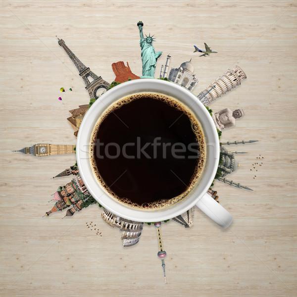 Ilustração famoso mundo monumentos copo café Foto stock © sdecoret