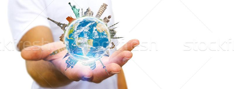 Man wereld jonge man aarde Stockfoto © sdecoret