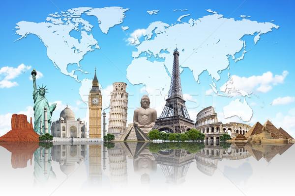 Illustrazione noto mondo monumenti terra estate Foto d'archivio © sdecoret