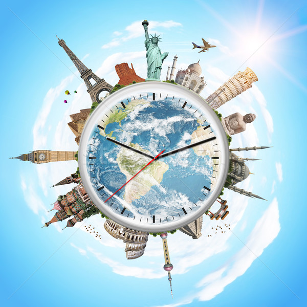 illustration of a clock with famous monuments Stock photo © sdecoret