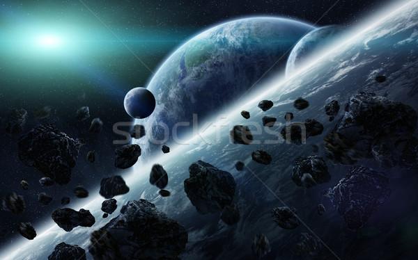 Meteoriet planeten ruimte wereldbol licht Stockfoto © sdecoret