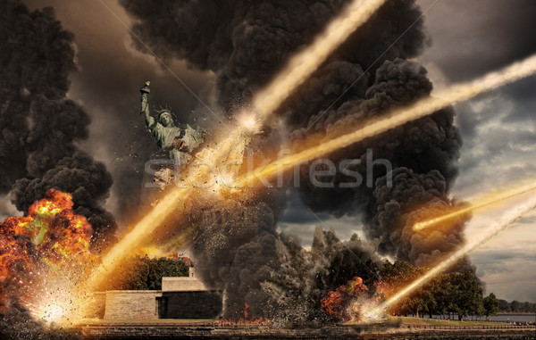Meteorite shower on Liberty Statue Stock photo © sdecoret