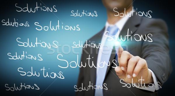 бизнесмен невозможное решения прикасаться цифровой интерфейс Сток-фото © sdecoret