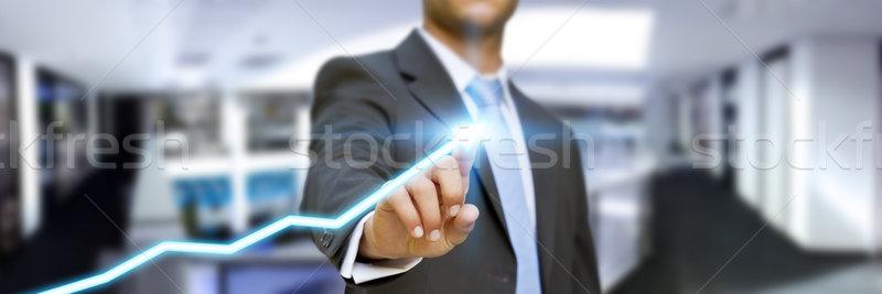 бизнесмен служба интерфейс цифровой пальцы бизнеса Сток-фото © sdecoret