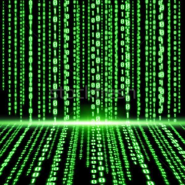 Groene binaire code lijnen digitale internet technologie Stockfoto © sdecoret