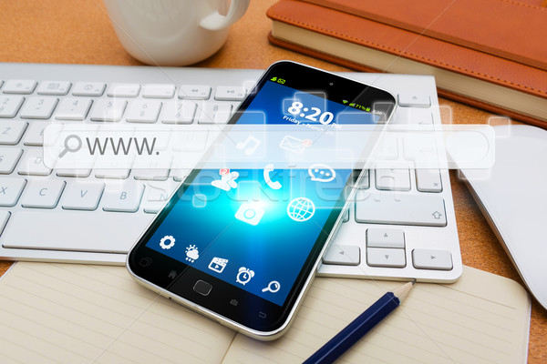 Modern mobile phone with internet web bar Stock photo © sdecoret