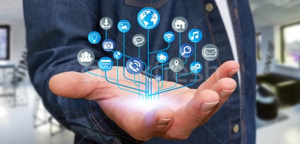 Zakenman moderne digitale elektronische circuit iconen Stockfoto © sdecoret