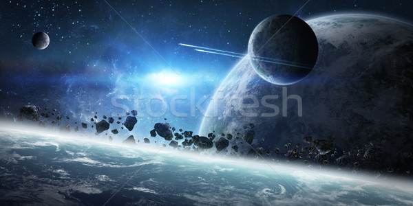 Sunrise over group of planets in space Stock photo © sdecoret