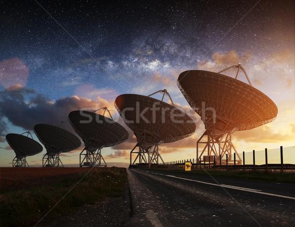 Stock photo: Radio Telescope view at night