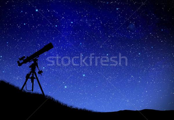 Stock photo: Telescope watching the wilky way