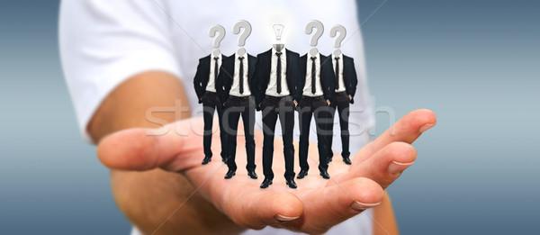 Uomo gruppo imprenditori mano applicazione Foto d'archivio © sdecoret