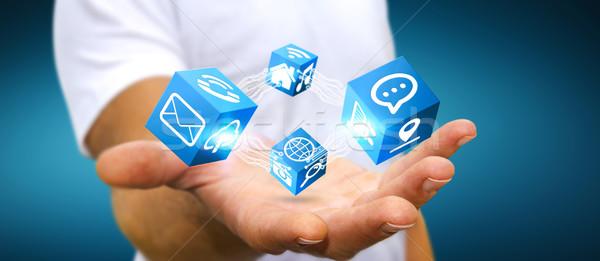 Imprenditore moderno digitale cubo interfaccia giovani Foto d'archivio © sdecoret