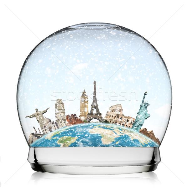 Monumenti mondo palla di neve illustrazione noto neve Foto d'archivio © sdecoret
