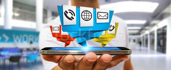 бизнесмен современных цифровой оригами икона применение Сток-фото © sdecoret