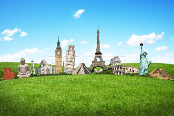 Stock photo: Illustration of famous monument on green grass