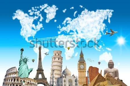 Illustration célèbre monde monuments terre été Photo stock © sdecoret