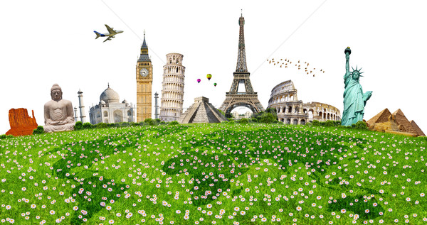 Illustration of famous monument on green grass Stock photo © sdecoret