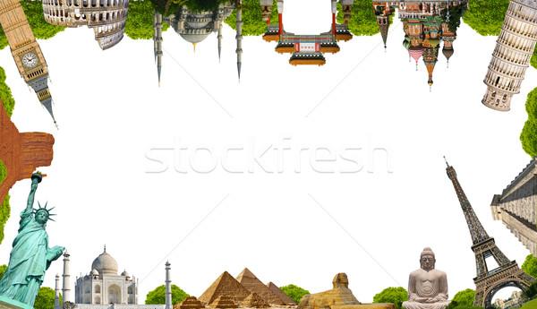 ünlü anıtlar dünya birlikte beyaz arka plan Stok fotoğraf © sdecoret
