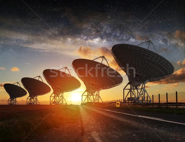 Radio Telescope view at night Stock photo © sdecoret