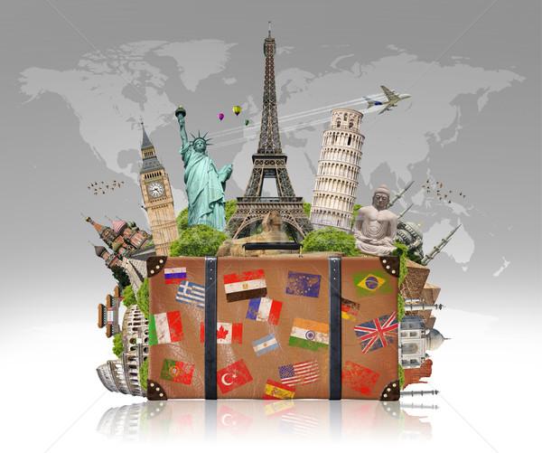 Ilustração mala completo famoso monumentos mundo Foto stock © sdecoret