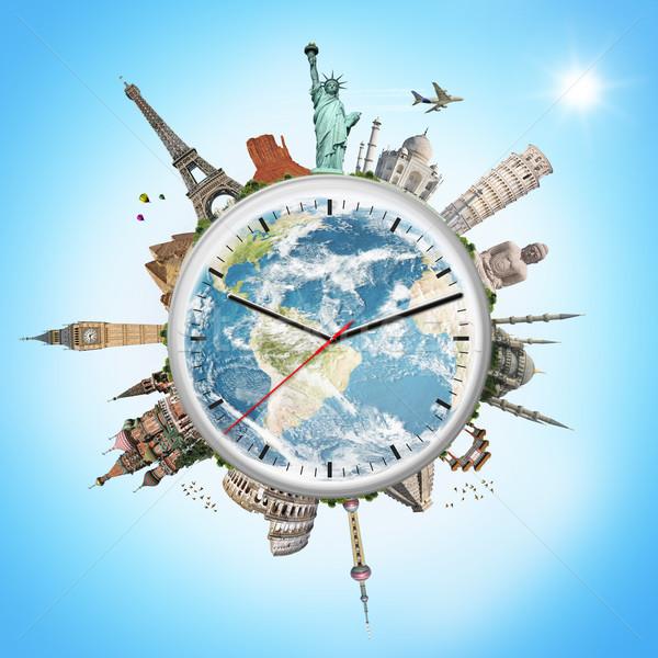 Illustration horloge célèbre monuments monde monde Photo stock © sdecoret