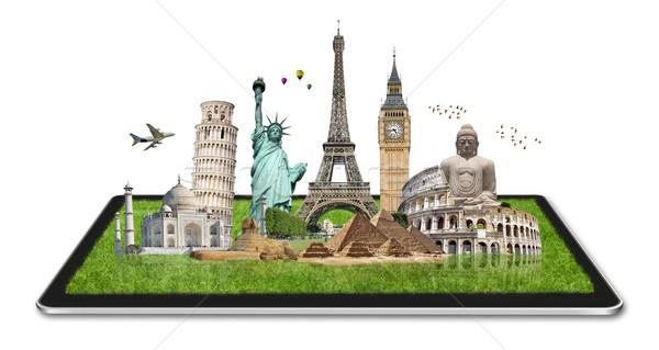 памятники Мир таблетка известный вместе цифровой Сток-фото © sdecoret