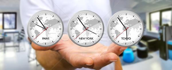 бизнесмен время Мир стороны три Сток-фото © sdecoret