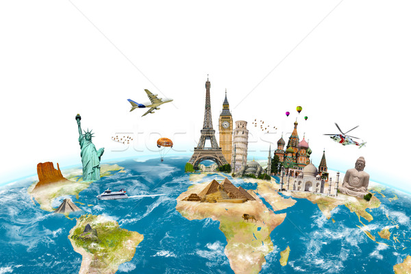 Stock photo: Famous monuments of the world surrounding planet Earth on white
