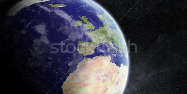 Sunrise planète terre espace vue soleil coucher du soleil Photo stock © sdecoret